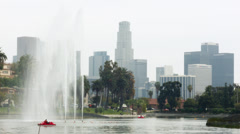 2.5K Los Angeles Echo Park Downtown Skyline - stock footage