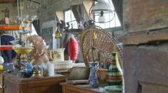 Normandy locals visit  flea market Stock Footage