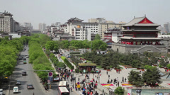 Traffic near by drum tower square, xian,shaanxi,China Stock Footage