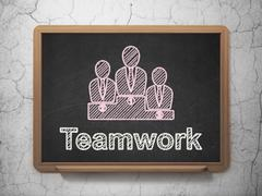 Finance concept: Business Team and Teamwork on chalkboard background - stock illustration