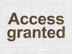 Protection concept: Access Granted on fabric texture background - stock illustration
