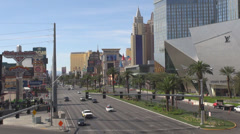 Aerial view Las Vegas strip traffic street car pas New York resort casino hotel  Stock Footage