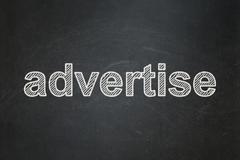 Advertising concept: Advertise on chalkboard background - stock illustration