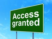 Stock Illustration of Protection concept: Access Granted on road sign background