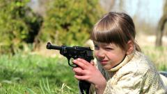 Boy with gun,boy playing weapon,little warrior Stock Footage