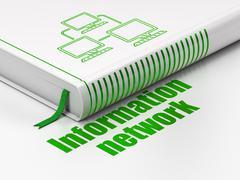 Data concept: book Lan Computer Network, Information Network on white background - stock illustration
