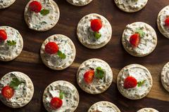 cracker and cheese hors d'oeuvres - stock photo