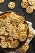 whole grain wheat round crackers - stock photo