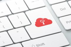 Cloud networking concept: Key on computer keyboard background Stock Illustration