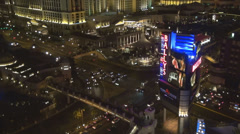 Bally's video display advertising night aerial view traffic car street Las Vegas Stock Footage