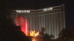 Treasure Island eruption volcano show fire explosion night illuminated famous US Stock Footage