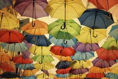 colorful umbrella street decoration. - stock illustration