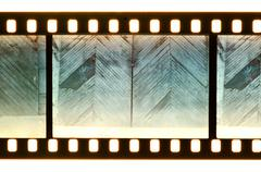 Vintage door and wall on film strip Stock Photos