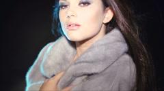 Model Girl in Blue Mink Fur Coat Stock Footage
