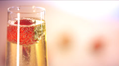 Champagne flutes filled with chilled bubbly - stock footage