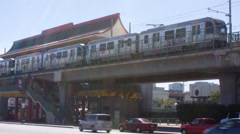 2.5K Los Angeles Metro Gold Line Chinatown Station Train Leaving Stock Footage