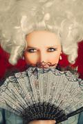 Beautiful Baroque Woman Portrait with Wig and Fan Stock Photos
