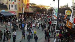 Time lapse shot people walking at sunset on 6th Street Austin, texas SXSW V1 Stock Footage