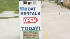 2.5K Los Angeles Echo Park Boat Rental Open Sign Stock Footage
