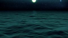 Ocean waves full moon stars milky way - loopable Stock Footage