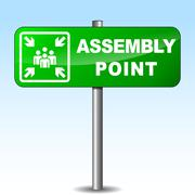 Vector assembly point signpost Stock Illustration