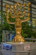 Menorah at international airport Ben Gurion Stock Photos