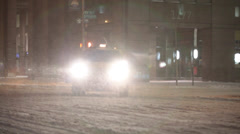 Taxi Driving In Winter Snow - New York Stock Footage