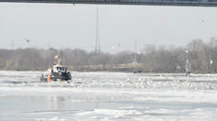 Coast Guard Tugboat Breaks the Ice 1 Stock Footage