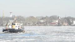Coast Guard Tugboat Breaks the Ice 3 Stock Footage