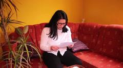 Woman Reading Bad News Stock Footage