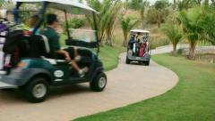 27of30 Portrait of happy people playing in golf club, sport - stock footage