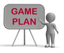 Game plan whiteboard means scheme approach and planning Stock Illustration