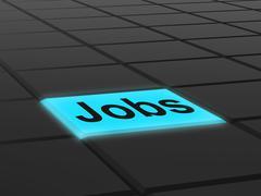 jobs button shows hiring recruitment online hire job - stock illustration