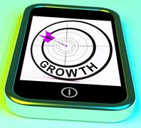 growth smartphone shows expansion  and advancement through internet - stock illustration