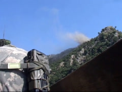 War in Afghanistan - Hillside Mortars - stock footage