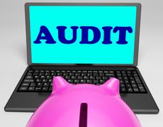 audit laptop means auditor scrutiny and analysis - stock illustration