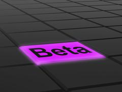 Stock Illustration of beta button shows development or demo version