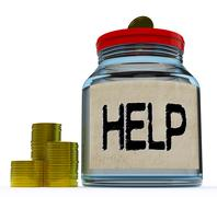 help jar shows monetary support or contribution - stock illustration