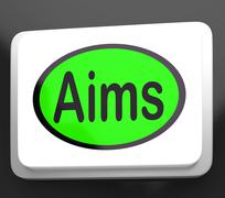 Aims button shows targeting purpose and aspiration Stock Illustration