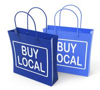 Buy local bags promote buying products locally Stock Illustration