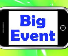 Big event on phone shows celebration occasion festival and performance Stock Illustration