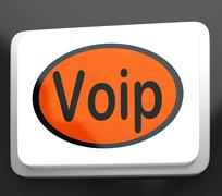 voip button means voice over internet protocol or broadband telephony - stock illustration