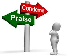 Condemn praise signpost means appreciate or blame Stock Illustration