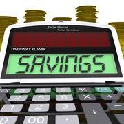 savings calculator shows setting aside financial reserves - stock illustration