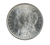 Morgan silver dollar on white Stock Photos