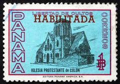 Postage stamp Panama 1964 Protestant Church of Colon Stock Photos