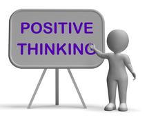Positive thinking whiteboard means optimism hopefulness and good attitude Stock Illustration