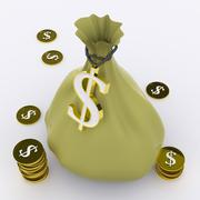 Dollar bag means wealth currency or earnings Stock Illustration
