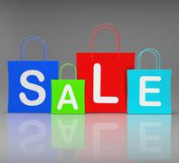 Sale bags show retail buying and shopping Stock Illustration