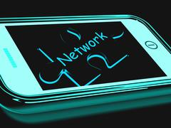 Network smartphone shows connecting and communicating on web Stock Illustration